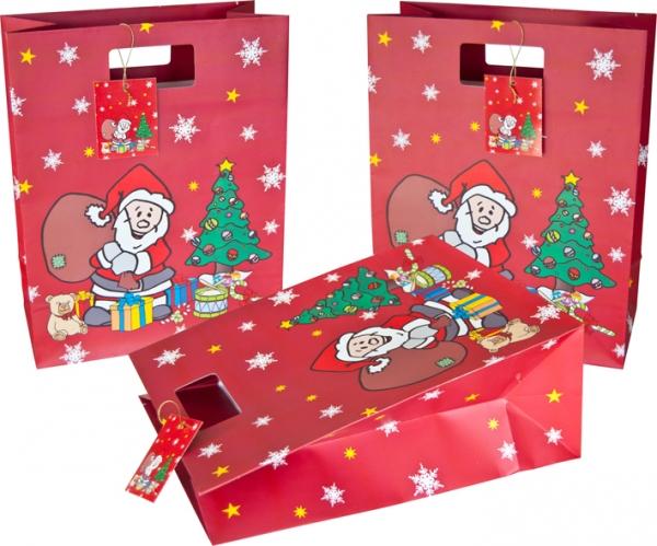 """Geschenktasche 330x260x130mm mit Griffstanzung und Motiv """"Weihnachtsmann"""""""