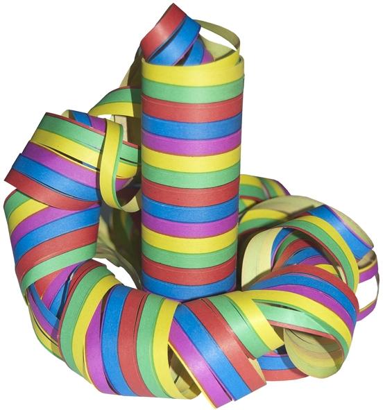 Luftschlangen 5-farbig 18er Rollen 4m