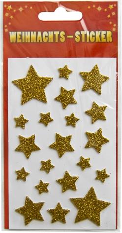 """Weihnachts-Sticker mit Motiv """"Sterne gold mit Glimmer"""""""