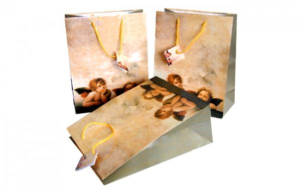 """Geschenktasche 330x260x130mm mit Griffstanzung und Motiv """"Engel beige"""""""