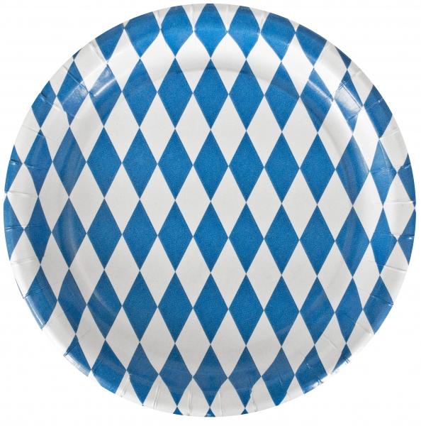 """B1 Pappteller rund flach ppk Motiv """"Bayrisch Blau"""" 230mm"""