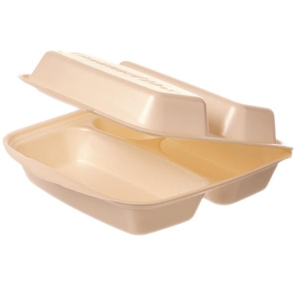 Warmhalte-Gourmetbox dreigeteilt 225x230x75mm beige mit Deckel aus Styropor, laminiert