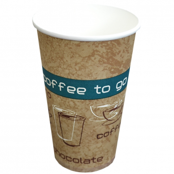 B2 Coffee To Go Becher ppk 400ml Coffee Cup beige mit Motiv, Kaffeebecher