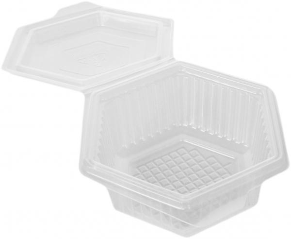 W5 Klappbox 6eck pp transparent 1500ml mit Deckel