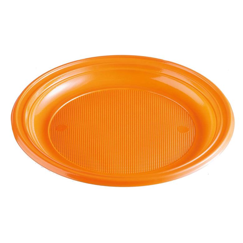men teller plastik orange rund ungeteilt pp 220 mm einweggeschirr partyzubeh r. Black Bedroom Furniture Sets. Home Design Ideas