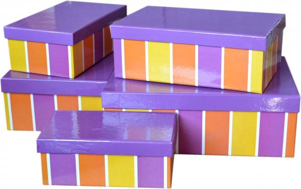 """5 Geschenkboxen rechteckig im Set """"Streifen lila"""""""