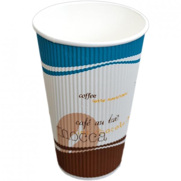 Riffle-Cup-Becher ppk 400ml , Kaffeebecher aus Pappe