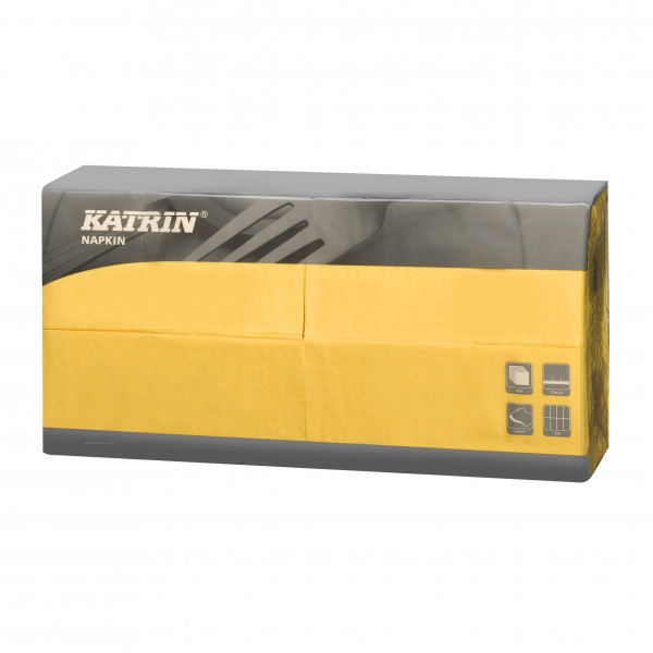 Gelb Katrin Premium Servietten papier 330mm 3-lagig 1/8 Falz