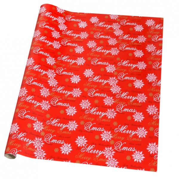 """Geschenkpapier-Rolle 2m x 700mm auf Kern """"Premium Merry X-Mas-rot"""" 22-308-08"""