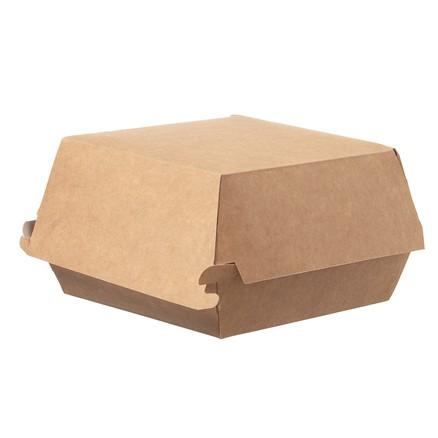 Hamburger Box 115x115x80 mm mit Deckel aus Pappe, braun