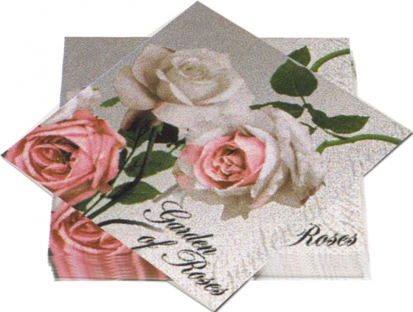 """Premium Servietten papier mit Motiv """"Garden of Roses"""" 330mm 3-lagig 1/4 Falz"""
