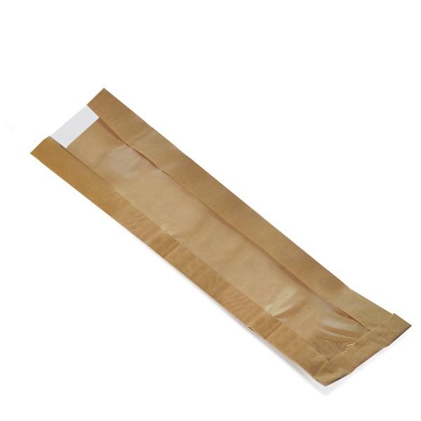 Faltenbeutel Papier braun 120x50x590mm Baguettes mit Fenster 80mm
