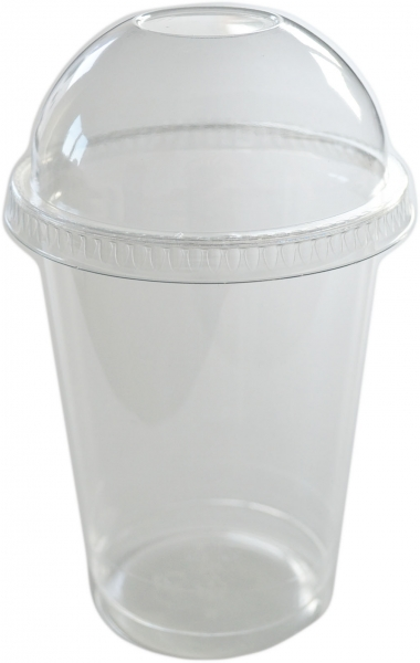Sparset Smoothie Cups pet transparent 500ml + Smoothie Cups Domdeckel mit Loch pet transparent