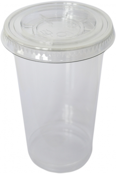 Sparset Smoothie Cups pet transparent 500ml + Smoothie Cups Flachdeckel mit Kreuz pet transparent
