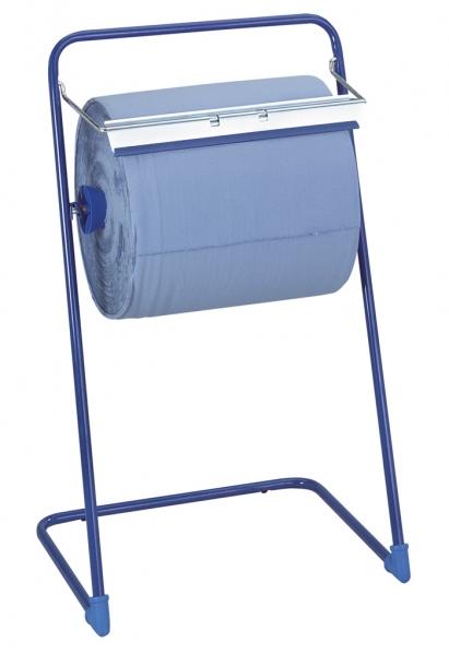 Spender für Putztuch /Industriepapierrollen und Handtuchrollen Bodenständer, bis 40cm, blau - 1