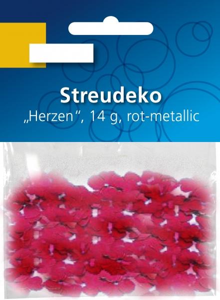 Streudeko Herzen rot-metallic 14gr