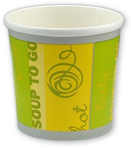 "Suppenbecher grün / gelb aus Pappe 12 oz 354ml ""Soup to Go"""