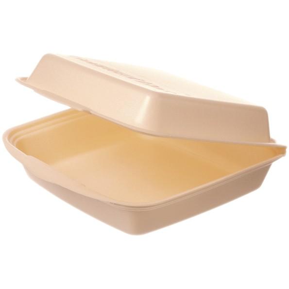 Warmhalte-Gourmetbox ungeteilt 225x230x75mm beige mit Deckel aus Styropor, laminiert