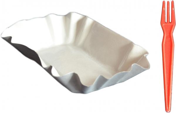 Sparset Pappschalen oval 105x175x30mm ppk weiß + Pommes Frites Gabeln pl bunt 85mm groß