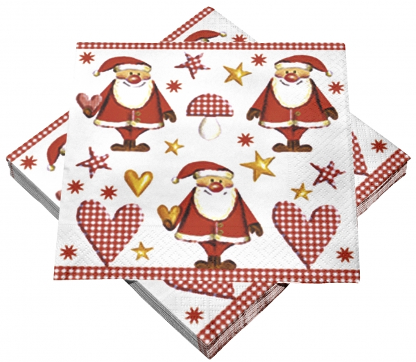 "Premium Servietten papier mit Motiv ""Santa Claus"" 330mm 3-lagig 1/4 Falz_22-243-15"