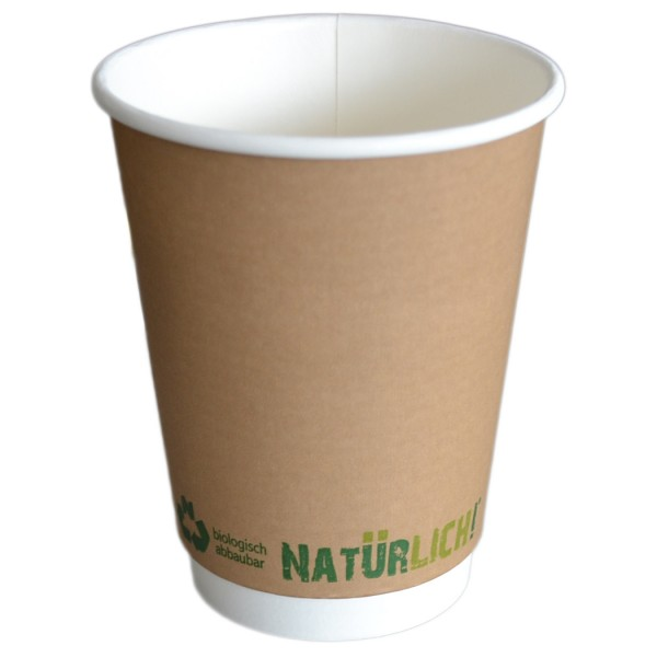 B2 Doppelwand 300ml Coffee To Go Becher ppk kompostierbar braun,12oz