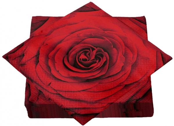 """Premium Servietten papier mit Motiv """"Red Rose"""" 330mm 3-lagig 1/4 Falz"""