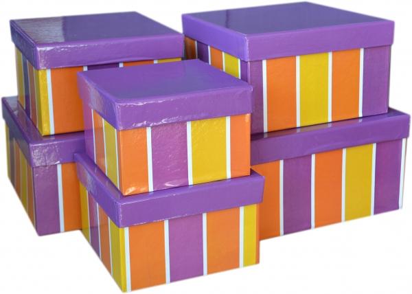 """6 Geschenkboxen quadratisch im Set """"Streifen lila"""""""
