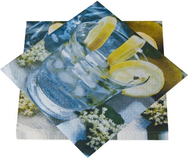 "Premium Servietten papier mit Motiv ""Cool Drinks"" 330mm 3-lagig 1/4 Falz"