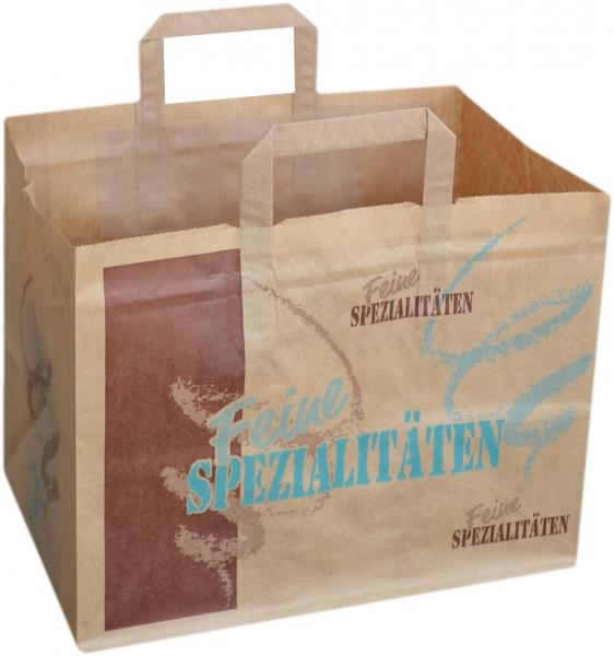 Tragetasche Papier braun mit Neutralmotiv 320x220x260mm Gebäcktasche