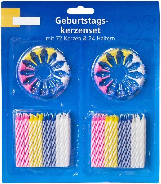 Geburtstagskerzen-Set 72 Kerzen + 24 Halter bunt