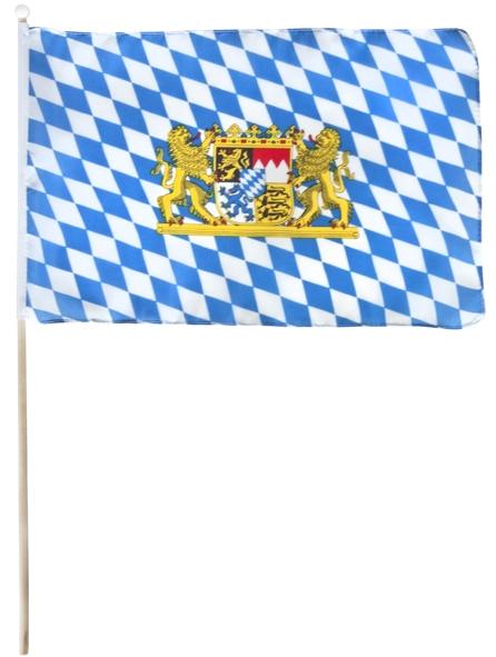 Flagge mit Holzstab Bayrisch Blau 30x40 cm