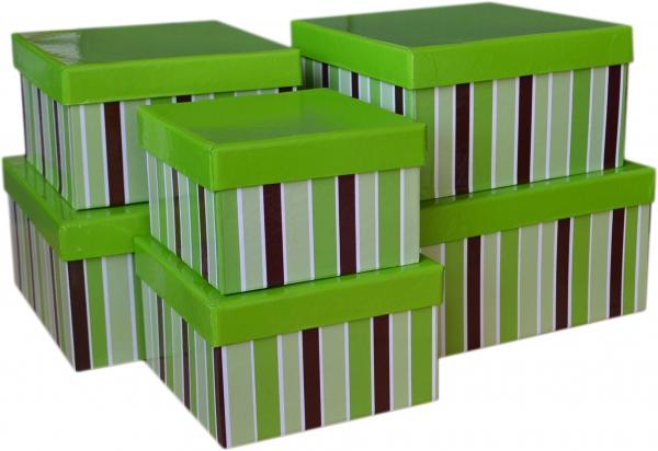 """6 Geschenkboxen quadratisch im Set """"Grün mit Streifen"""""""