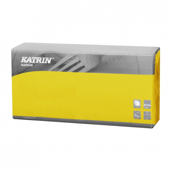 Gelb Katrin Premium Servietten papier 400mm 3-lagig 1/4 Falz