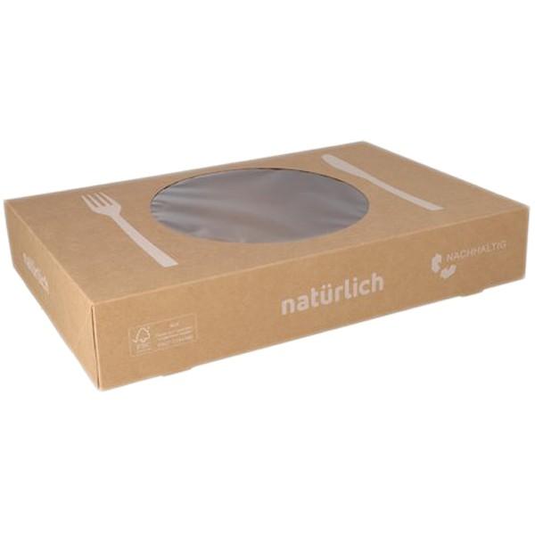 Catering-Box braun Kraft mit Fenster klein 360x250x80mm