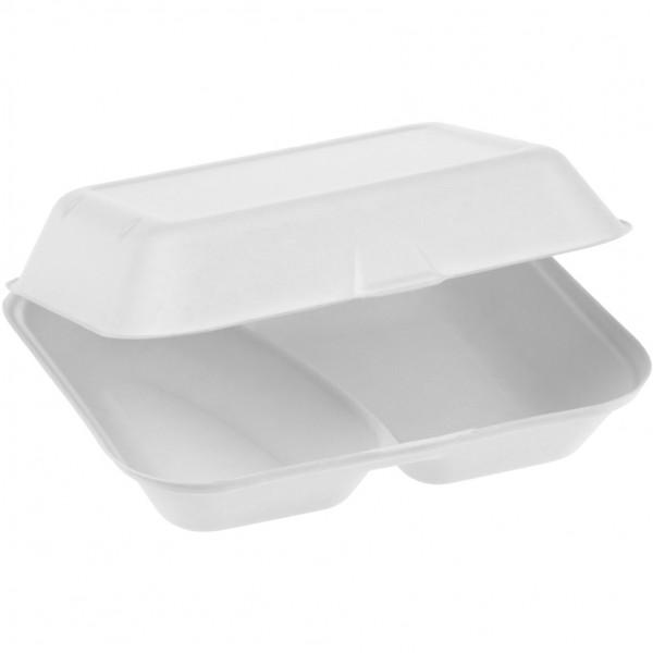 Zuckerrohr Food Box mit Klappdeckel 2-teilig extra gross 23,5x19,5cm 7,5cm tief, naturesse