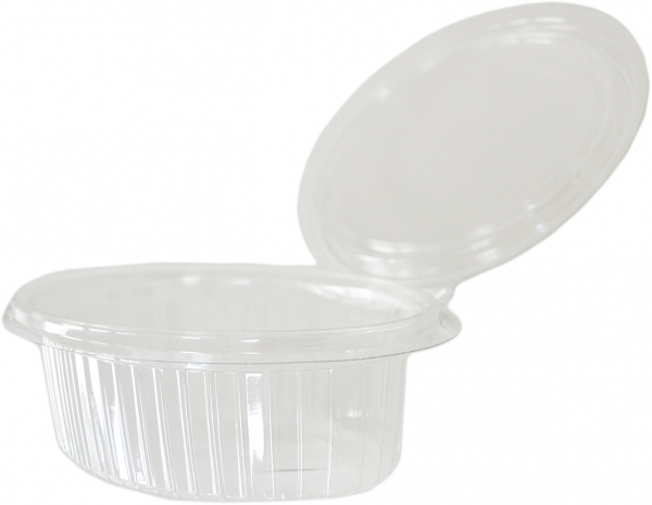 W2 Klappbox oval pet transparent 250ml mit Deckel