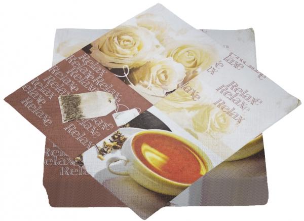 """Premium Servietten papier mit Motiv """"Tea Time"""" 330mm 3-lagig 1/4 Falz"""