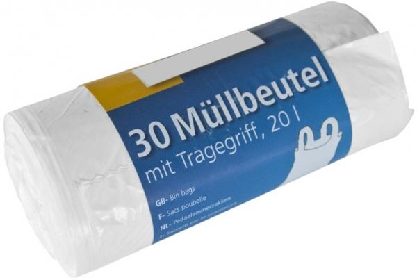 Müllbeutel mit Tragegriff, 20l, Rolle, weiß, HDPE