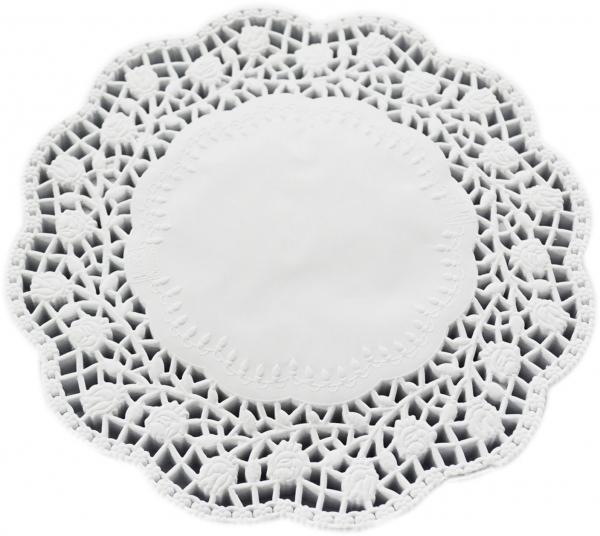 Tortenspitzen rund weiß 180mm
