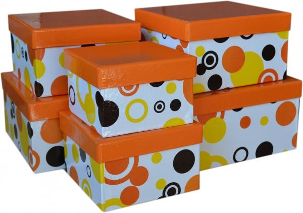 """6 Geschenkboxen quadratisch im Set """"Orange mit Kreisen"""""""