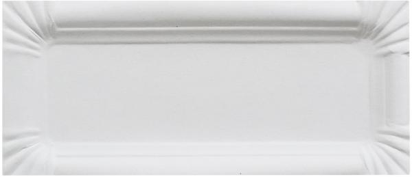 C2 Pappteller eckig 80x230mm ppk weiß Bratwurstteller