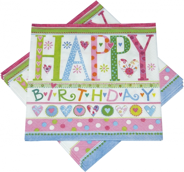 "Premium Servietten papier mit Motiv ""Happy Birthday 2"" 330mm 3-lagig 1/4 Falz - 243-08"