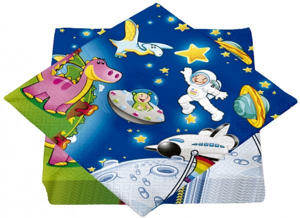 """Premium Servietten papier mit Motiv """"Astro Dinos"""" 330mm 3-lagig 1/4 Falz"""
