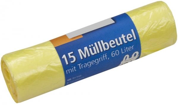 Müllbeutel mit Tragegriff, 60l, Rolle, gelb, HDPE