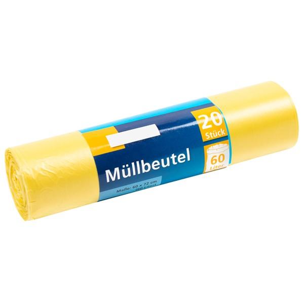 Müllbeutel, 60l, Rolle, gelb, HDPE