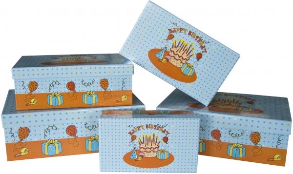 """5 Geschenkboxen rechteckig im Set """"Birthday Party"""""""