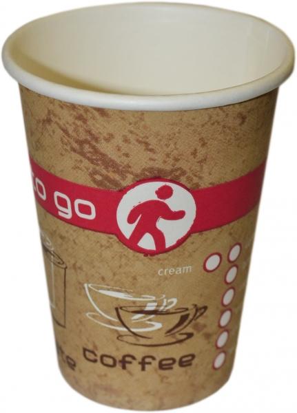 B4 Coffee To Go Becher ppk 180ml Coffee Cup beige mit Motiv, Kaffeebecher