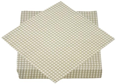 """Premium Servietten papier mit Motiv """"Karos beige"""" 330mm 3-lagig 1/4 Falz"""