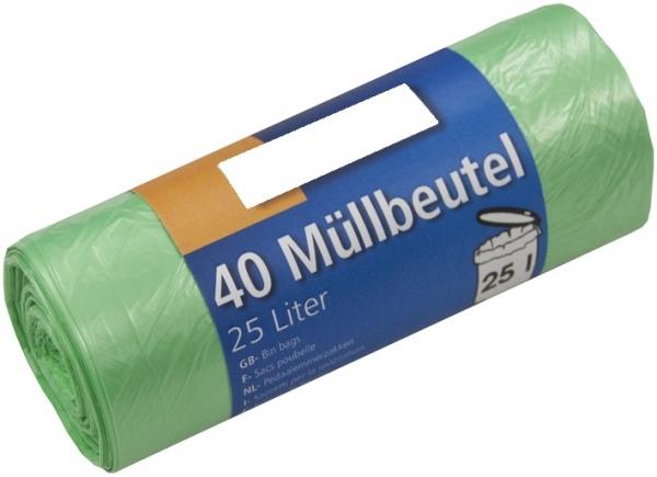 Müllbeutel, 25l, Rolle, grün, HDPE