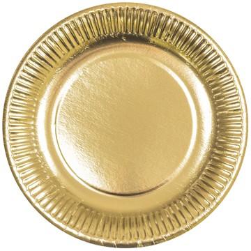 Pappteller gold rund flach 230mm